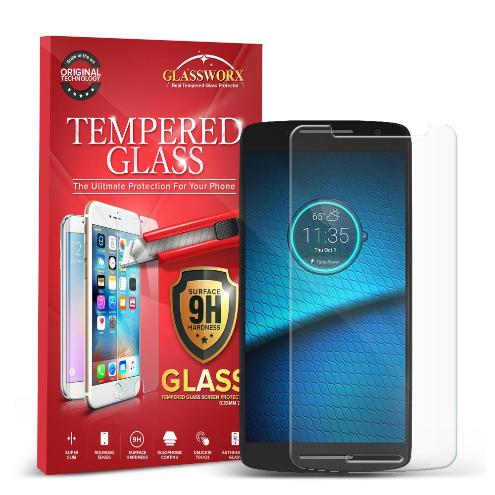 Motorola Droid Maxx 2 XT1565 GlassWorX HD Clear Tempered Glass Screen Protector