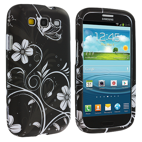 Samsung Galaxy S3 White Butterfly on Black Hard Rubberized Design Case Cover