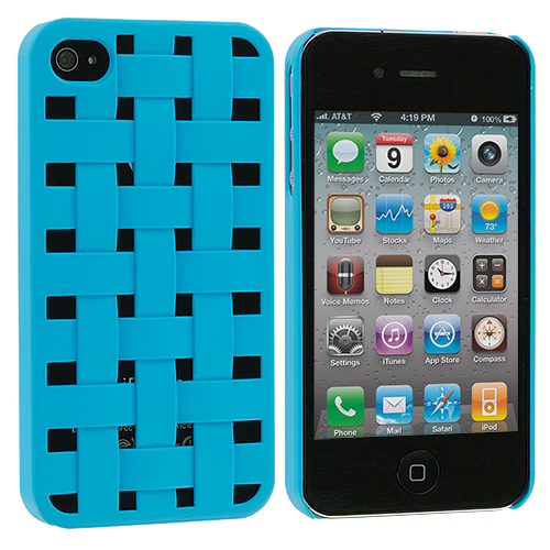 Apple iPhone 4 / 4S Baby Blue Weave Hard Rubberized Back Cover Case