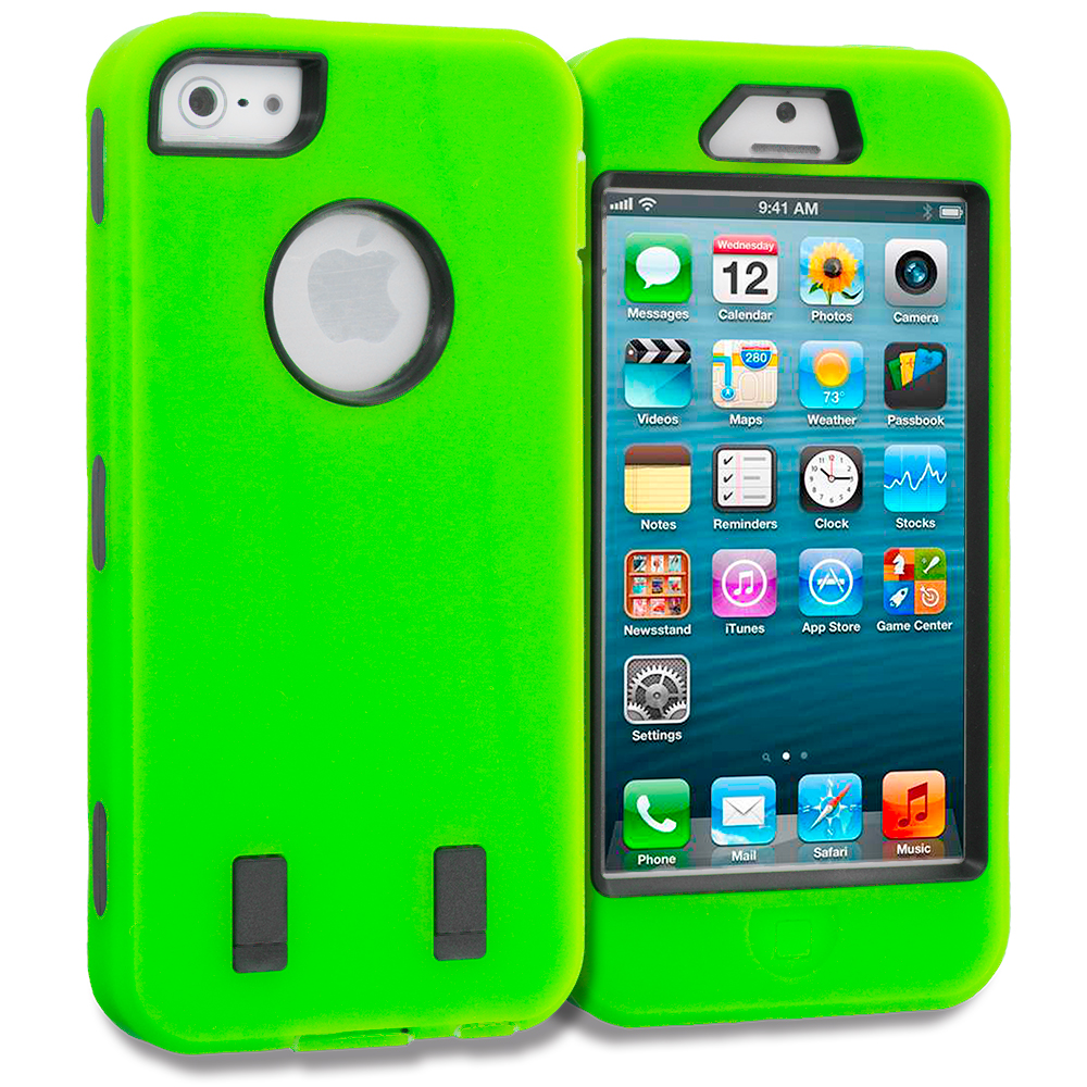 Apple iPhone 5/5S/SE 2 in 1 Combo Bundle Pack - Neon Green Blue Deluxe Hybrid Deluxe Hard/Soft Case Cover : Color Neon Green Deluxe