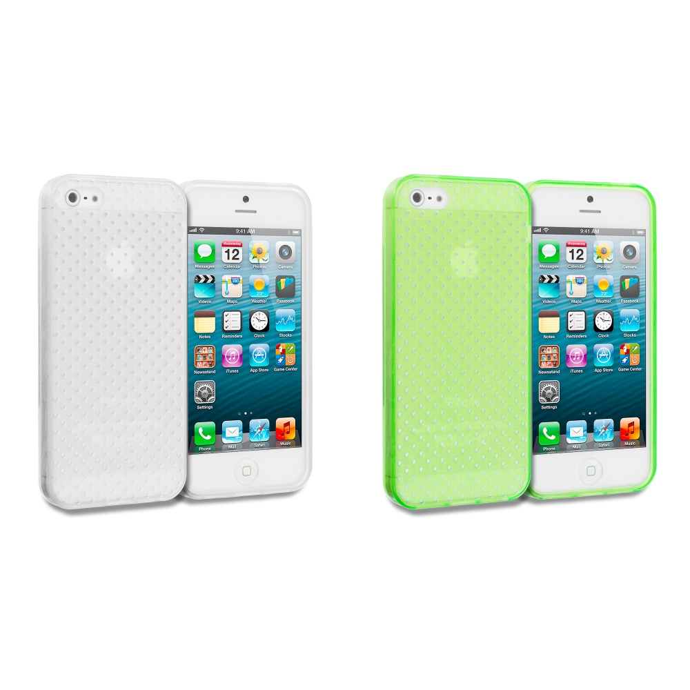 Apple iPhone 5/5S/SE 2 in 1 Combo Bundle Pack - Clear Mesh TPU Rubber Skin Case Cover