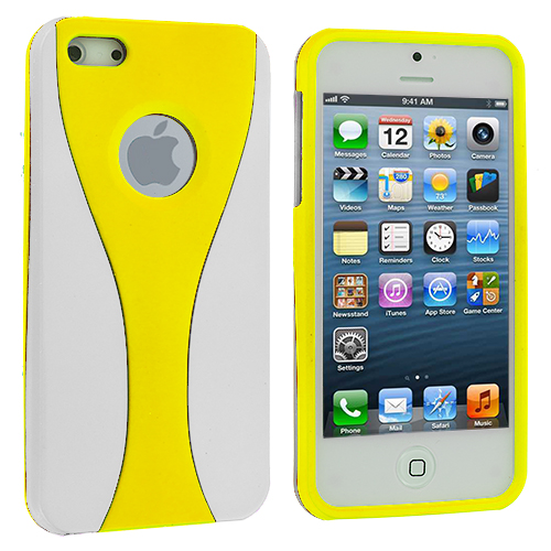 Apple iPhone 5/5S/SE White / Yellow Hard Rubberized 3-Piece Case Cover