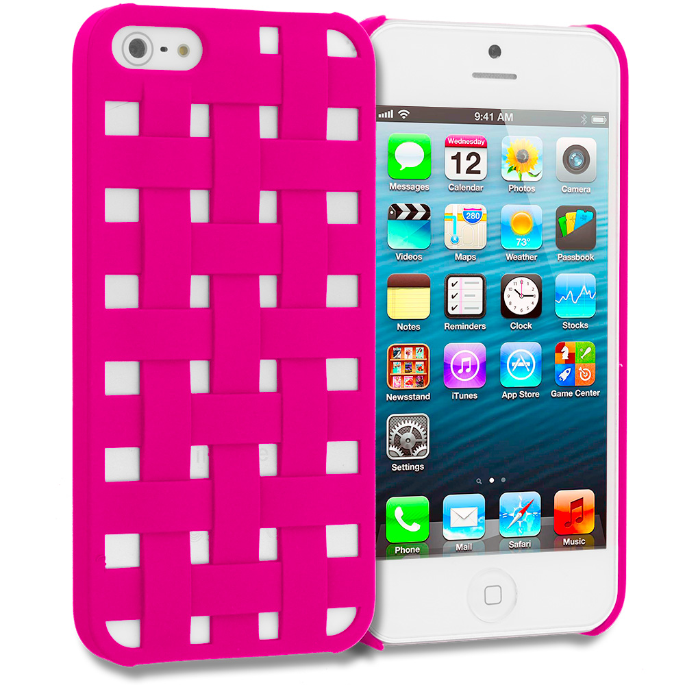 Apple iPhone 5/5S/SE Combo Pack : Baby Blue Handwoven Hard Rubberized Back Cover Case : Color Hot Pink Handwoven