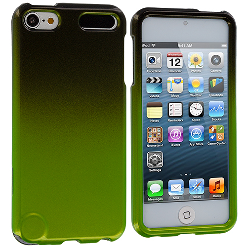 Apple iPod Touch 5th 6th Generation Black / Neon Green Two-Tone Hard Case Cover