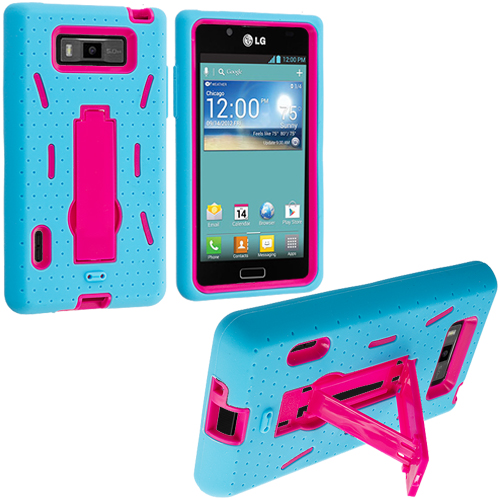 LG Splendor US730 Baby Blue / Hot Pink Hybrid Heavy Duty Hard/Soft Case Cover with Stand