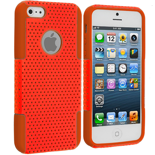 Apple iPhone 5/5S/SE Orange / Orange Hybrid Mesh Hard/Soft Case Cover