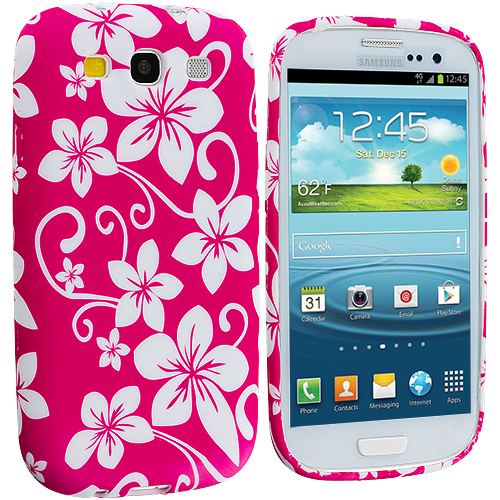 Samsung Galaxy S3 Pink Hawaii Flower TPU Design Soft Case Cover