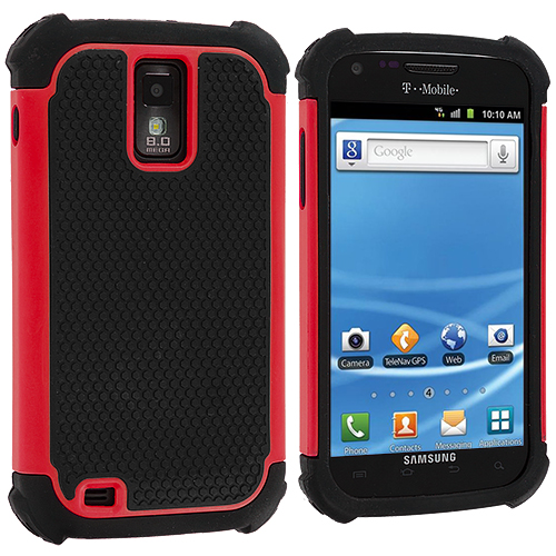 Samsung Hercules T989 T-Mobile Galaxy S2 Red Hybrid Rugged Hard/Soft Case Cover