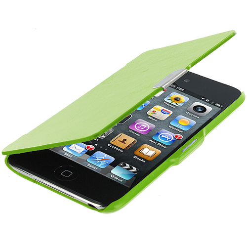 Apple iPod Touch 4th Generation Neon Green Texture Magnetic Wallet Case Cover Pouch