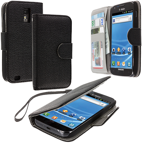 Samsung Hercules T989 T-Mobile Galaxy S2 Black Leather Wallet Pouch Case Cover with Slots