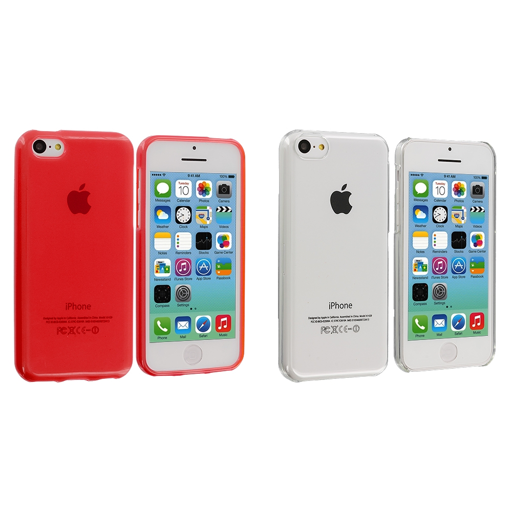 Apple iPhone 5C 2 in 1 Combo Bundle Pack - Clear Red Transparent Crystal Hard Back Cover Case