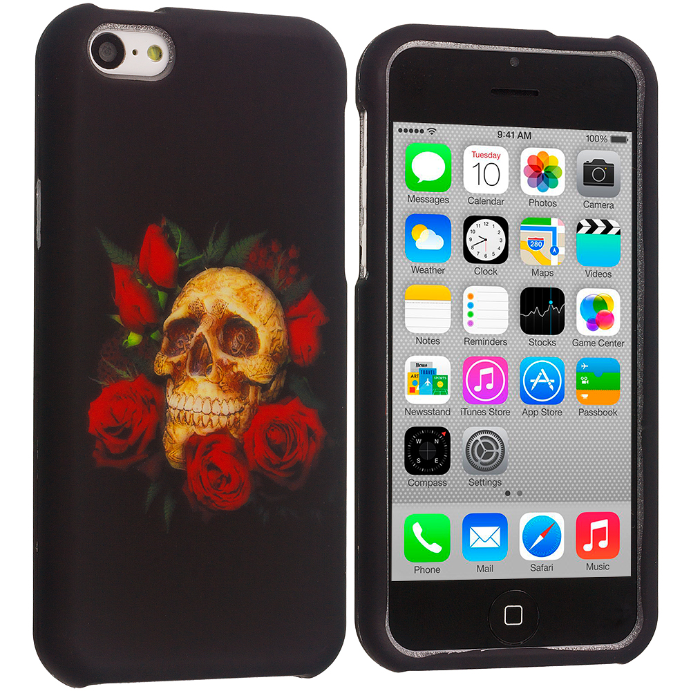 Apple iPhone 5C Rose Skull Hard Rubberized Design Case Cover