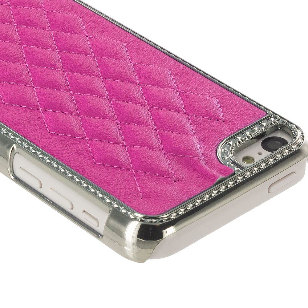 Apple iPhone 5C 3 in 1 Combo Bundle Pack - Blue Purple Pink Metal Quilted Hard/Soft Case Cover : Color Hot Pink