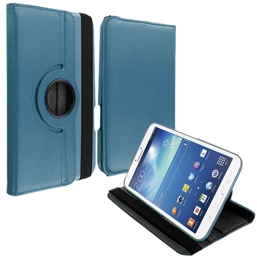 Samsung Galaxy Tab 3 8.0 Blue 360 Rotating Leather Pouch Case Cover Stand