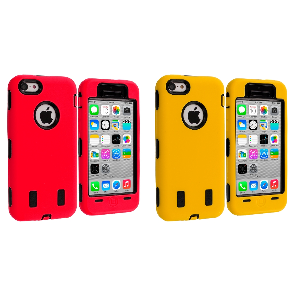 Apple iPhone 5C 2 in 1 Combo Bundle Pack - Red / Yellow Hybrid Deluxe Hard/Soft Case Cover