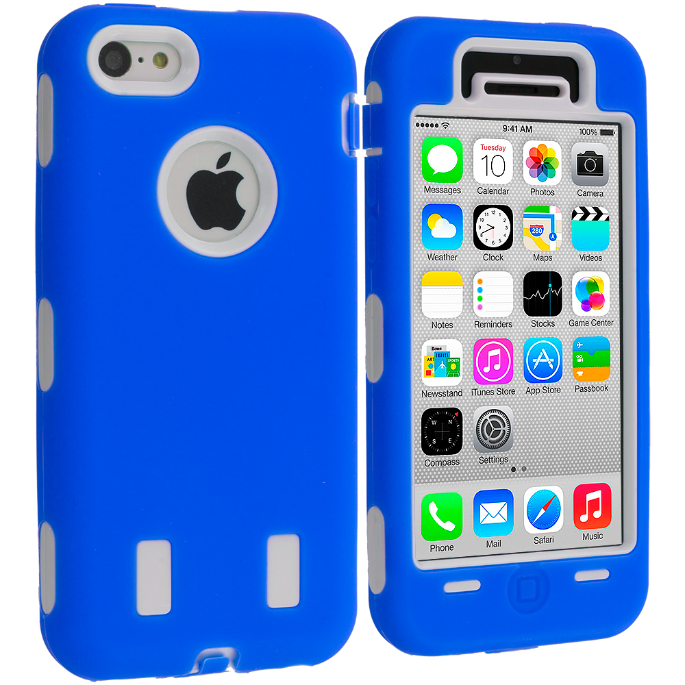 Apple iPhone 5C Blue / White Hybrid Deluxe Hard/Soft Case Cover