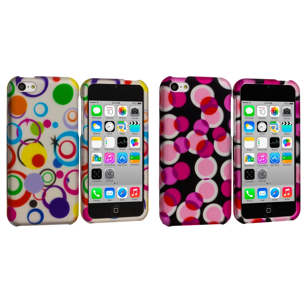 Apple iPhone 5C 2 in 1 Combo Bundle Pack - Colorful Circle on White Hard Rubberized Design Case Cover
