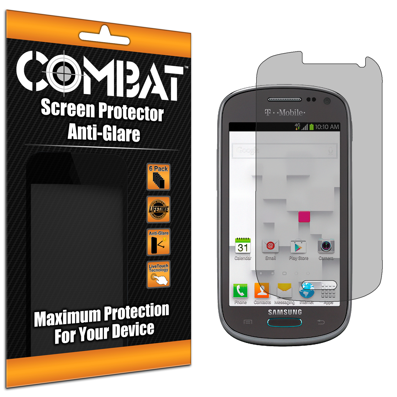 Samsung Galaxy Exhibit T599 Combat 6 Pack Anti-Glare Matte Screen Protector
