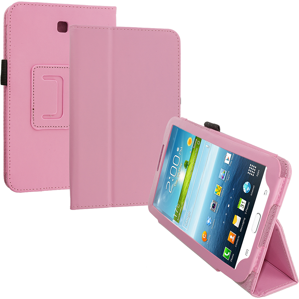 Samsung Galaxy Tab 3 7.0 Pink Folio Pouch Flip Case Cover Stand
