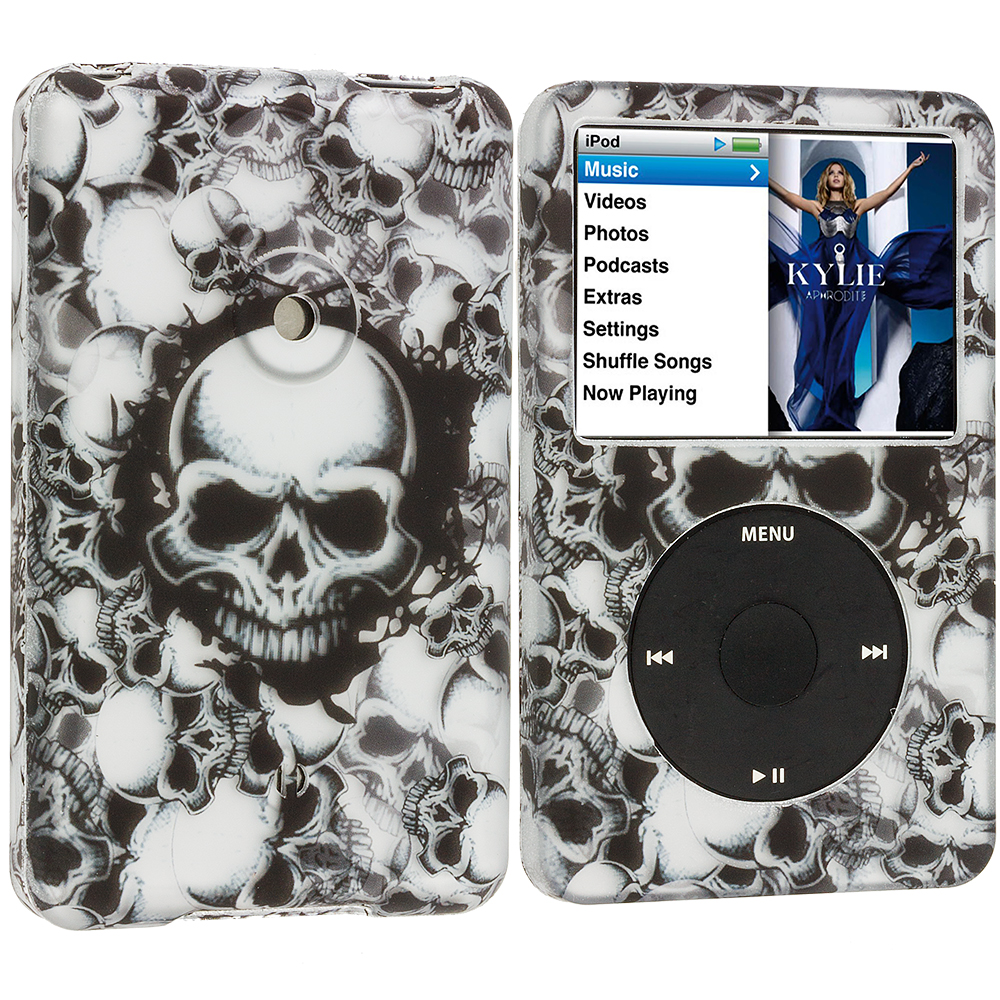 Apple iPod Classic Black White Skulls Hard Rubberized Design Case Cover