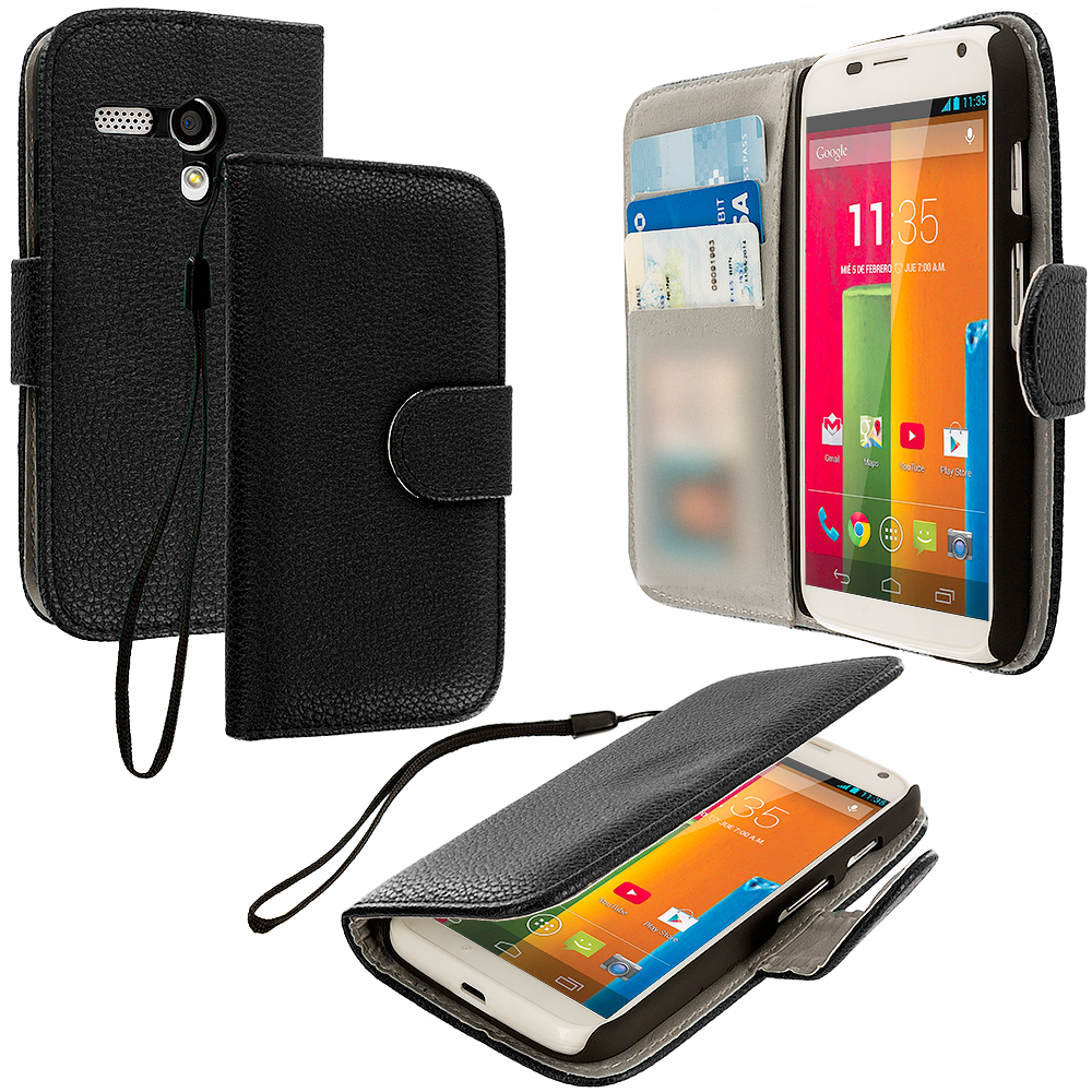 Motorola Moto G Black Leather Wallet Pouch Case Cover with Slots