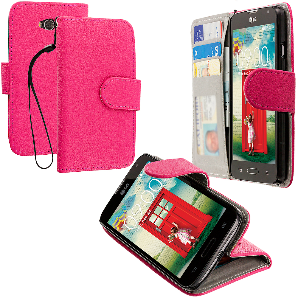 LG Optimus L70 Exceed 2 Realm LS620 Hot Pink Leather Wallet Pouch Case Cover with Slots