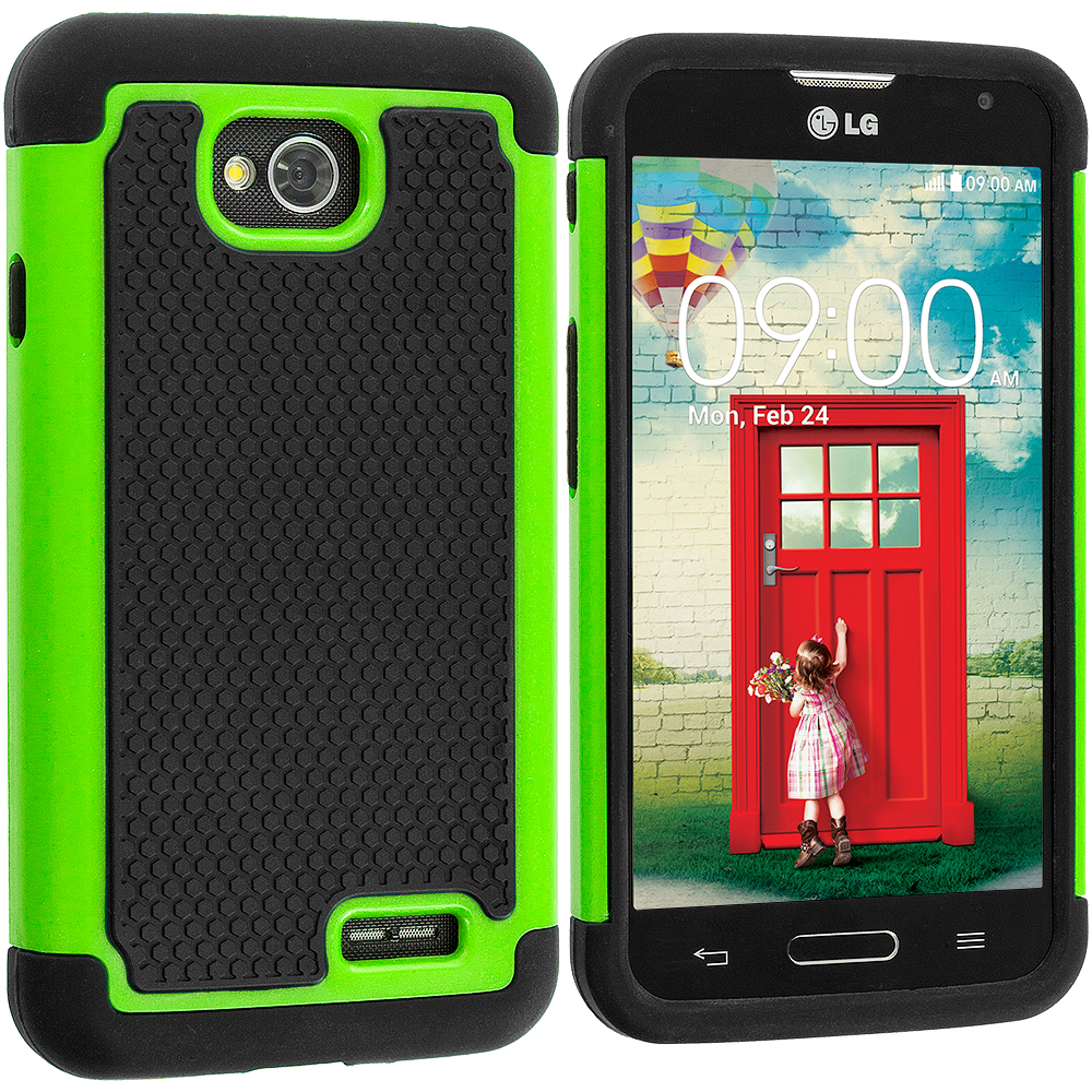 LG Optimus L70 Exceed 2 Realm LS620 Black / Neon Green Hybrid Rugged Hard/Soft Case Cover
