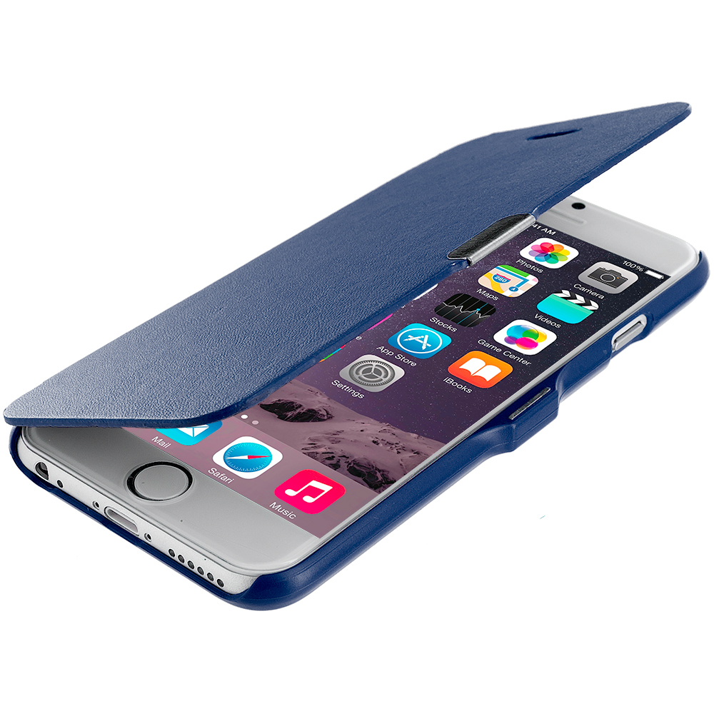 Apple iPhone 6 6S (4.7) Blue Magnetic Wallet Case Cover Pouch