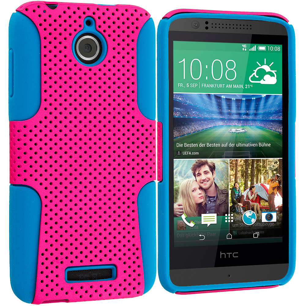 HTC Desire 510 512 Baby Blue / Hot Pink Hybrid Mesh Hard/Soft Case Cover