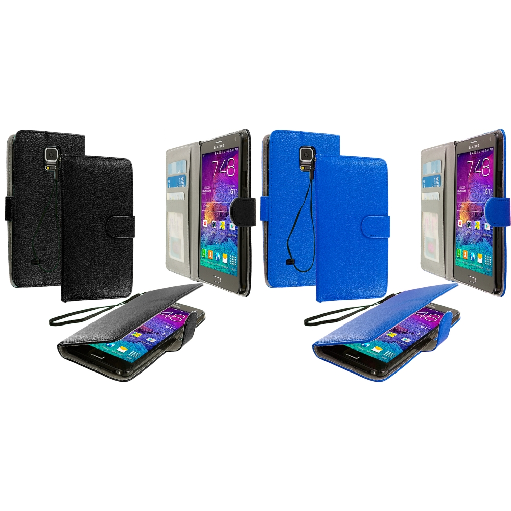 Samsung Galaxy Note 4 2 in 1 Combo Bundle Pack - Black Blue Leather Wallet Pouch Case Cover with Slots