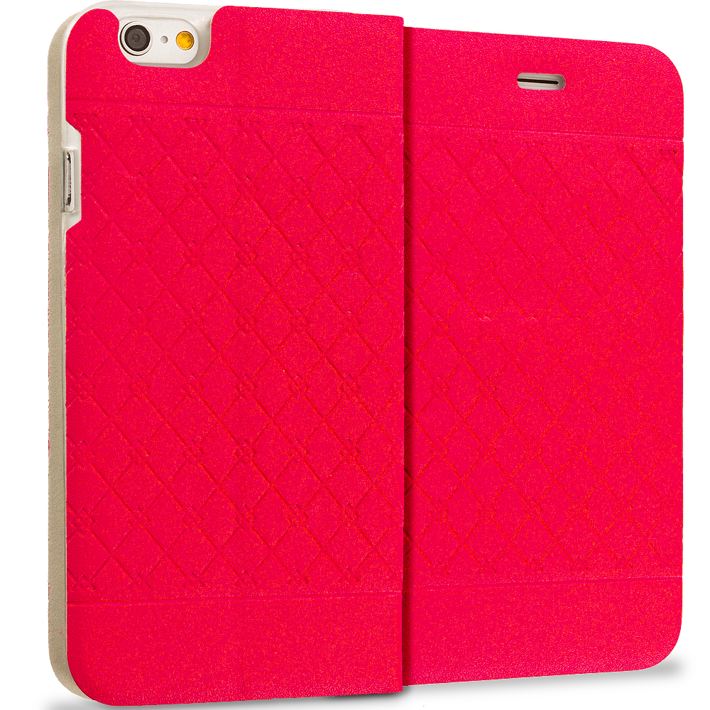 Apple iPhone 6 6S (4.7) 12 in 1 Combo Bundle Pack - Slim Wallet Plaid Luxury Design Flip Case Cover : Color Red