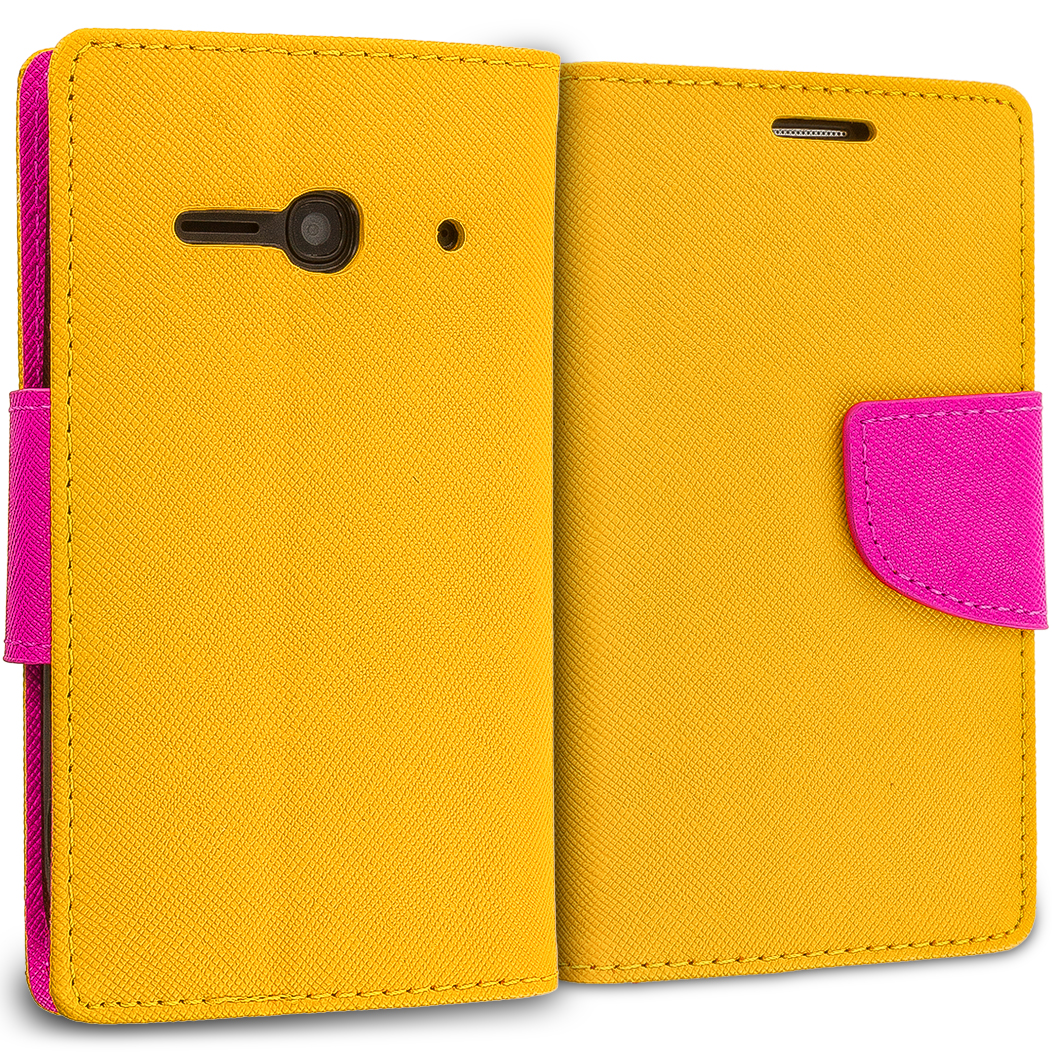 Alcatel One Touch Evolve 2 Yellow / Hot Pink Leather Flip Wallet Pouch TPU Case Cover with ID Card Slots