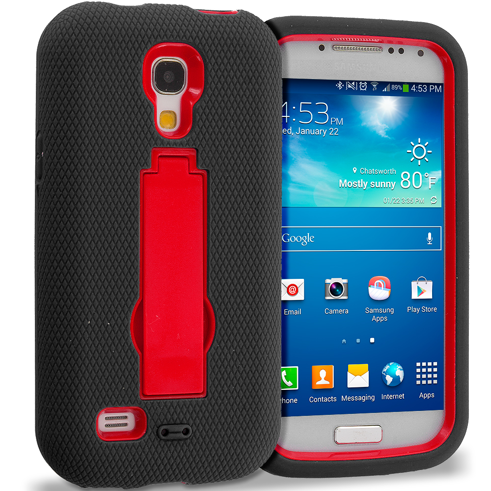 Samsung Galaxy S4 Mini i9190 Black / Red Hybrid Heavy Duty Hard Soft Case Cover with Kickstand