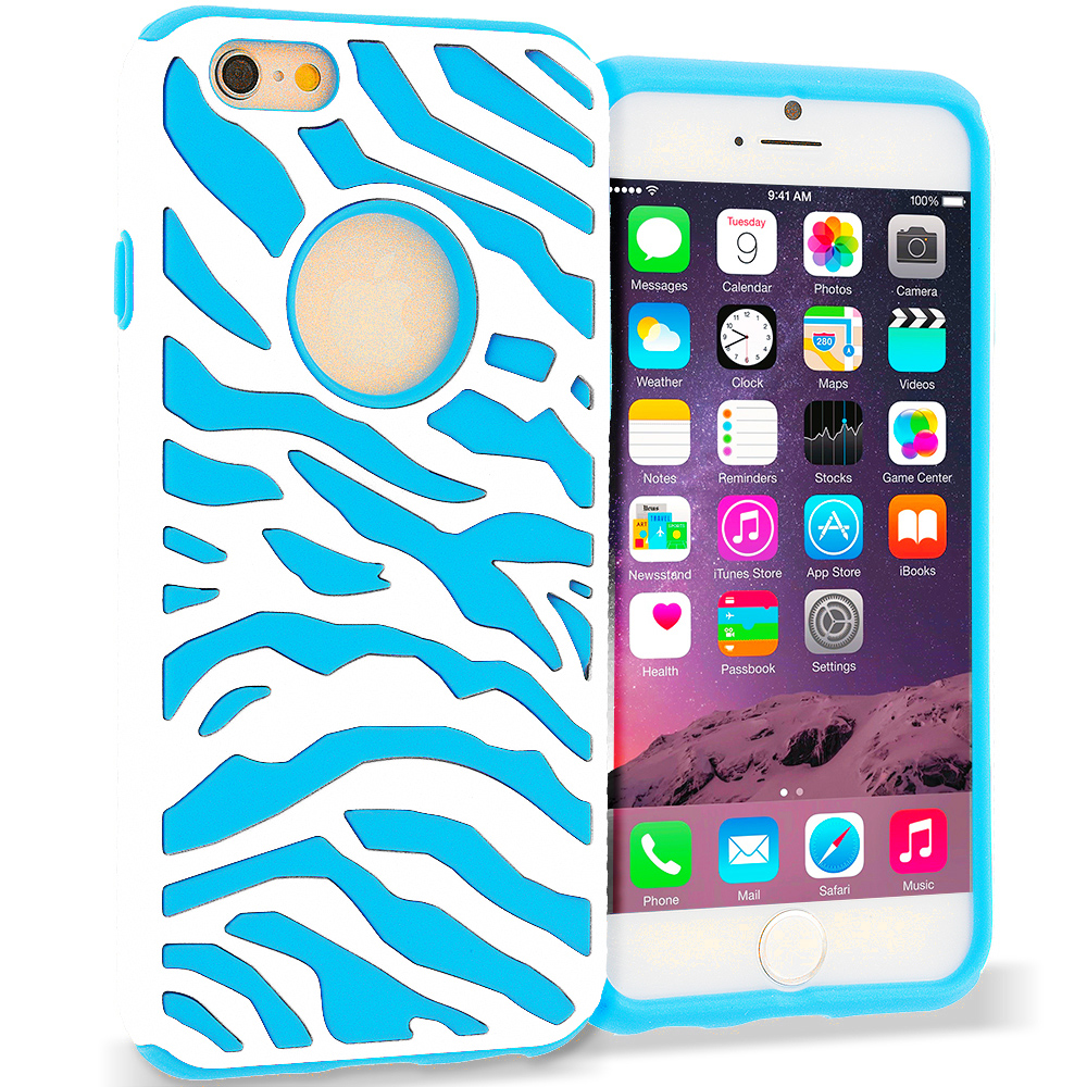 Apple iPhone 6 6S (4.7) 5 in 1 Combo Bundle Pack - Hybrid Zebra Hard/Soft Case Cover : Color White / Baby Blue