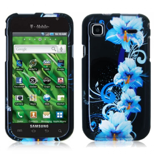 Samsung Vibrant SCH-T959 Blue Flower Design Crystal Hard Case Cover