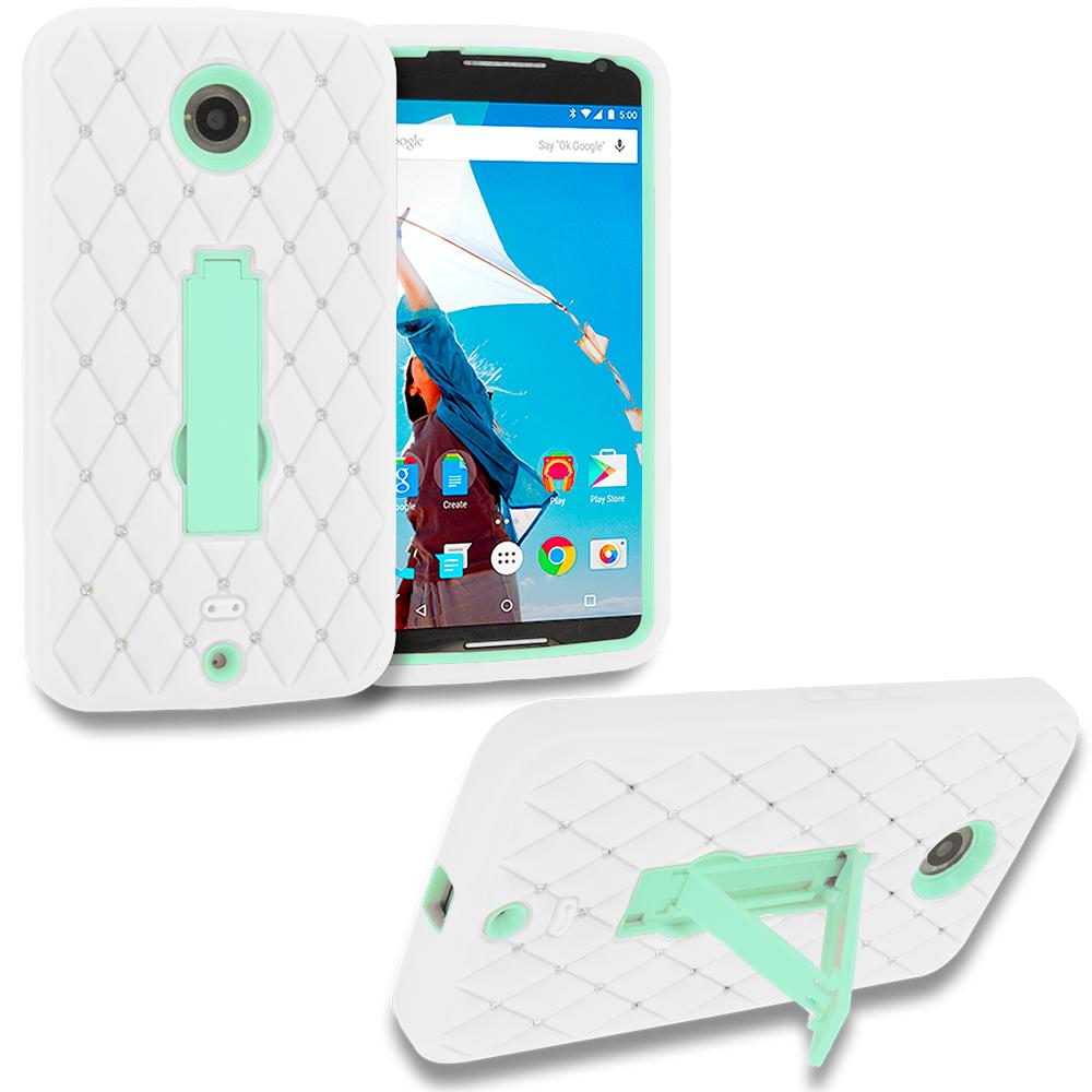 Motorola Google Nexus 6 White / Mint Green Hybrid Diamond Bling Hard Soft Case Cover with Kickstand