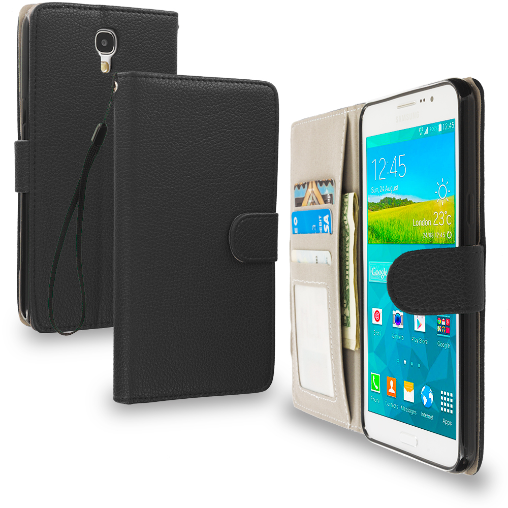 Samsung Galaxy Mega 2 Combo Pack : Black Leather Wallet Pouch Case Cover with Slots : Color Black