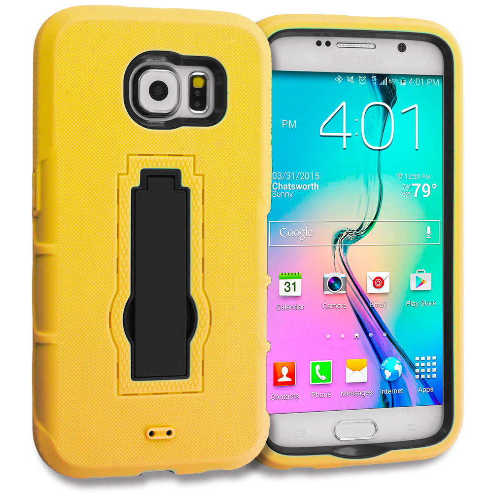 Samsung Galaxy S6 Combo Pack : Neon Green / Black Hybrid Heavy Duty Hard Soft Case Cover with Kickstand : Color Yellow / Black