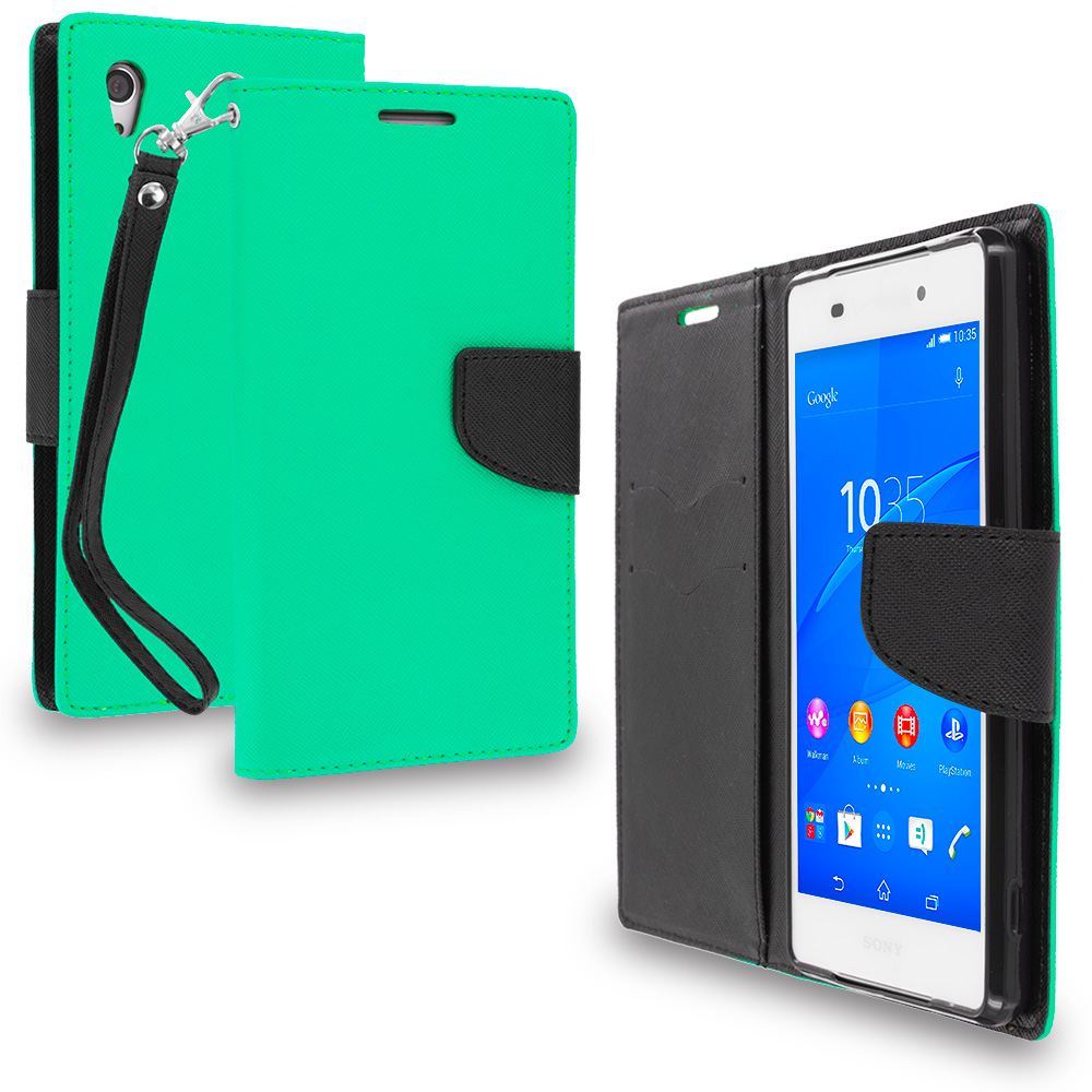Sony Xperia Z3v Verizon Mint Green / Black Leather Flip Wallet Pouch TPU Case Cover with ID Card Slots