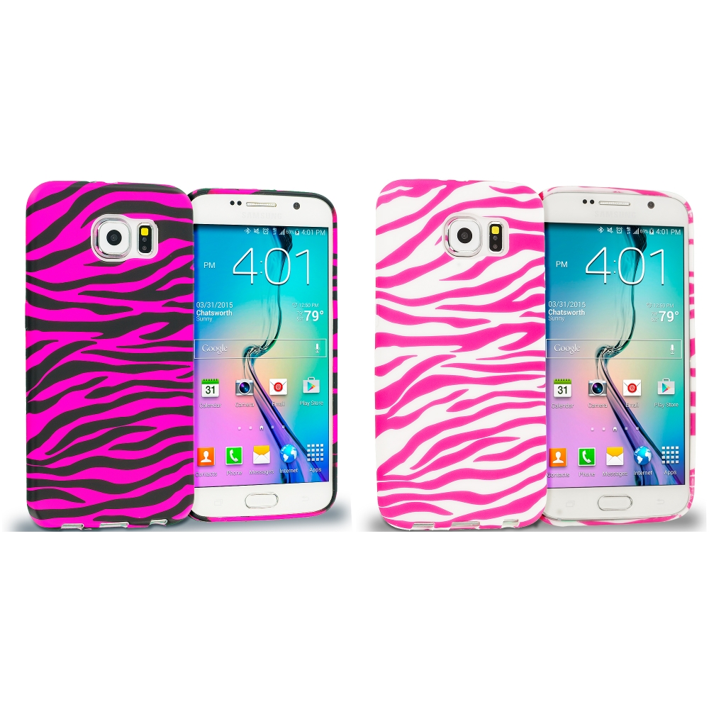 Samsung Galaxy S6 Combo Pack : Black / Hot Pink Zebra TPU Design Soft Rubber Case Cover
