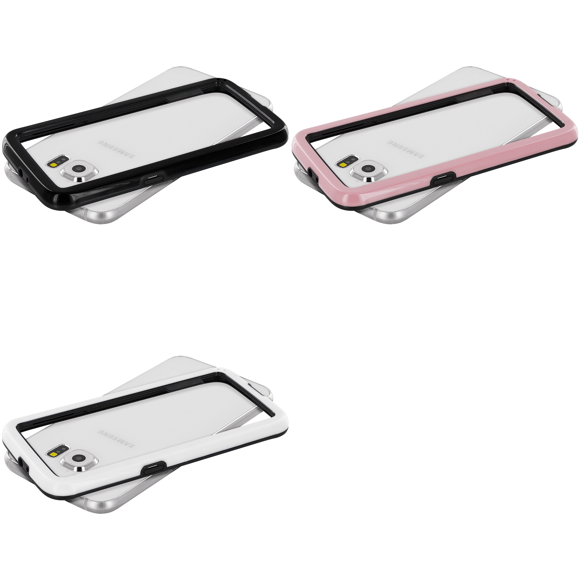 Samsung Galaxy S6 Combo Pack : Pink / Black Hybrid TPU Bumper Case Cover