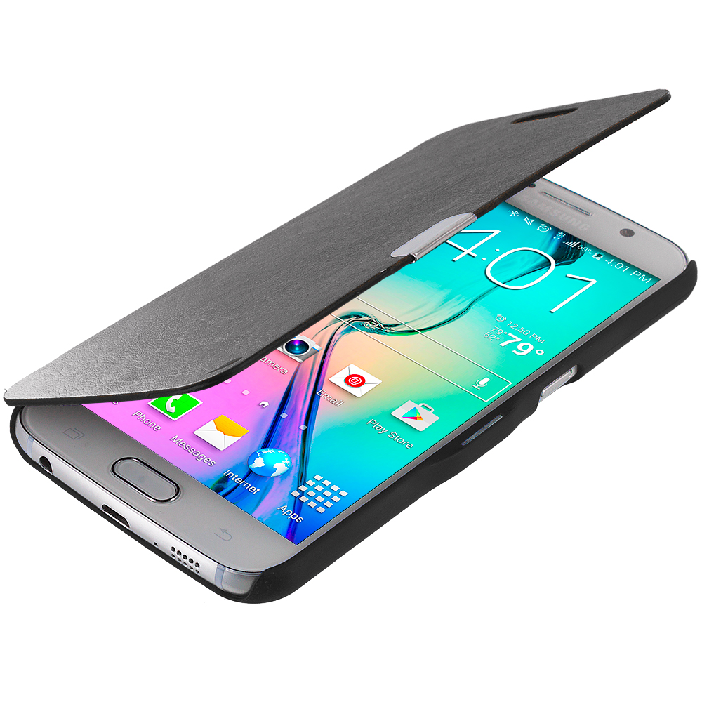 Samsung Galaxy S6 2 in 1 Combo Bundle Pack - Magnetic Flip Wallet Case Cover Pouch : Color Black