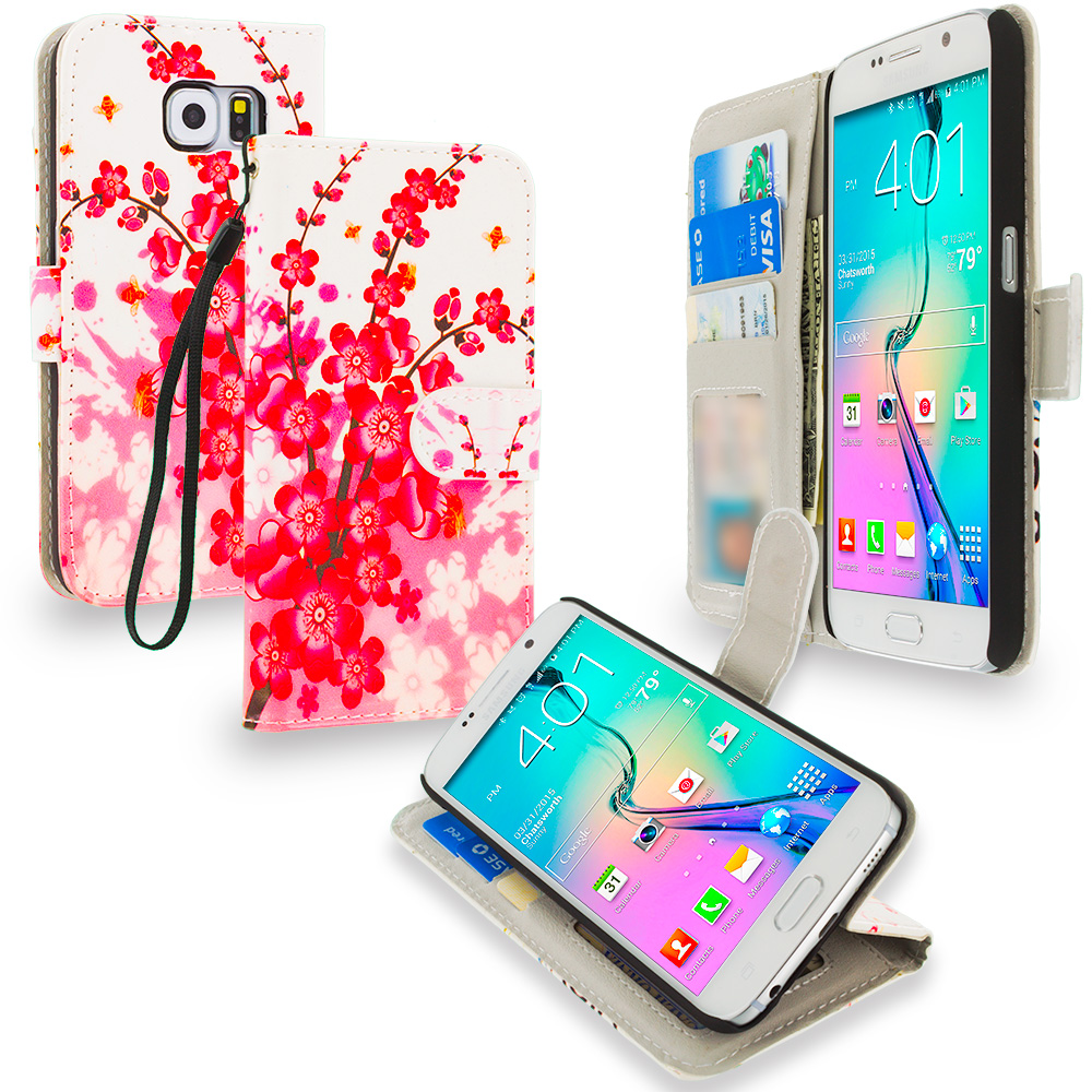 Samsung Galaxy S6 Combo Pack : Pink Butterfly Flower Leather Wallet Pouch Case Cover with Slots : Color Spring Flower