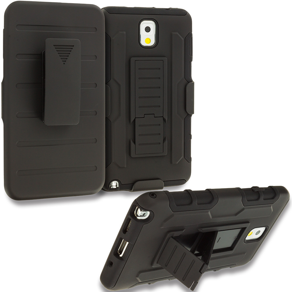 Samsung Galaxy Note 3 N9000 Black Hybrid Rugged Robot Armor Heavy Duty Case Cover with Belt Clip Holster