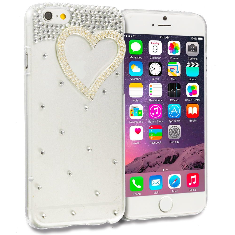 Apple iPhone 6 6S (4.7) Heart Silver Bling Rhinestone Case Cover