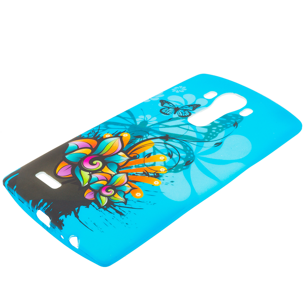 LG G4 Blue Butterfly Flower TPU Design Soft Rubber Case Cover