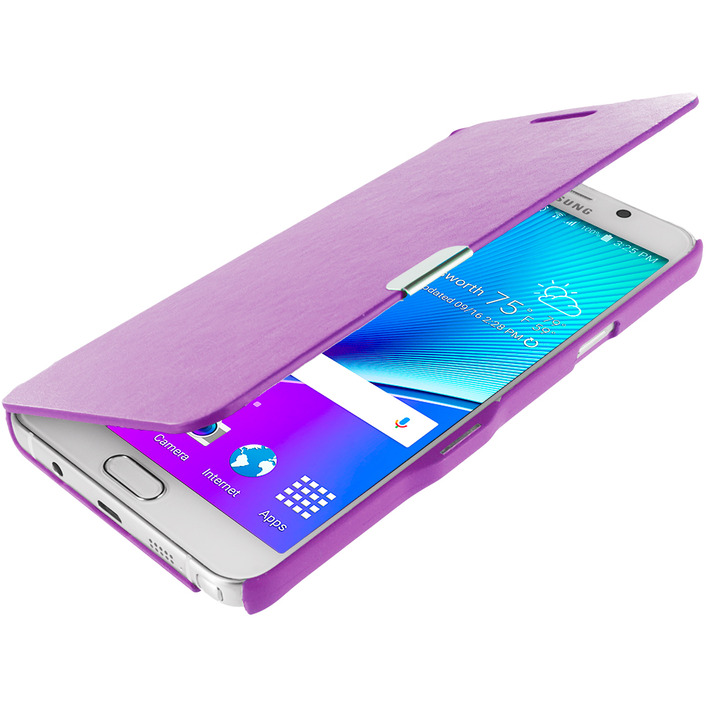 Samsung Galaxy Note 5 Purple Magnetic Flip Wallet Case Cover Pouch