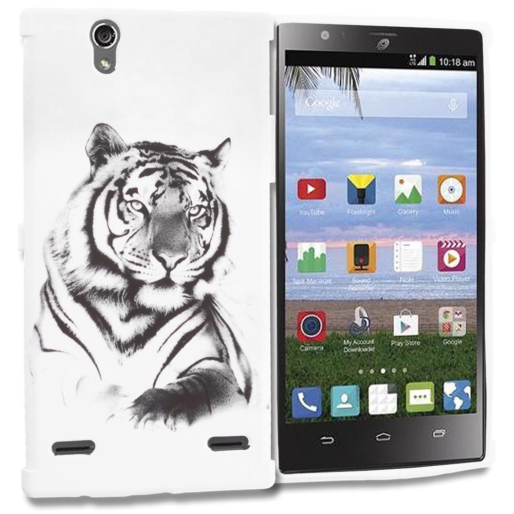 ZTE Lever Z936 White Tiger TPU Design Soft Rubber Case Cover