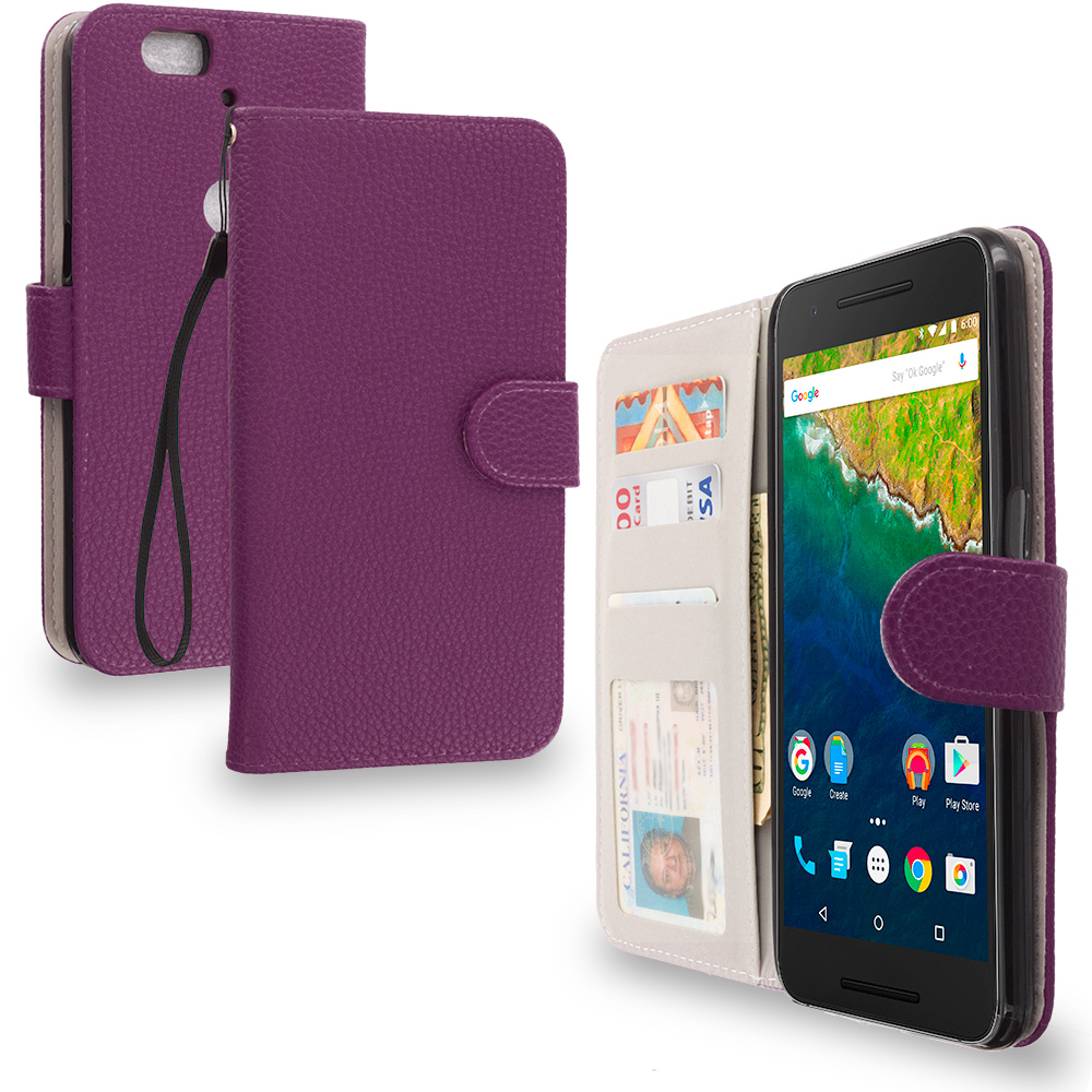 Huawei Google Nexus 6P Purple Leather Wallet Pouch Case Cover with Slots