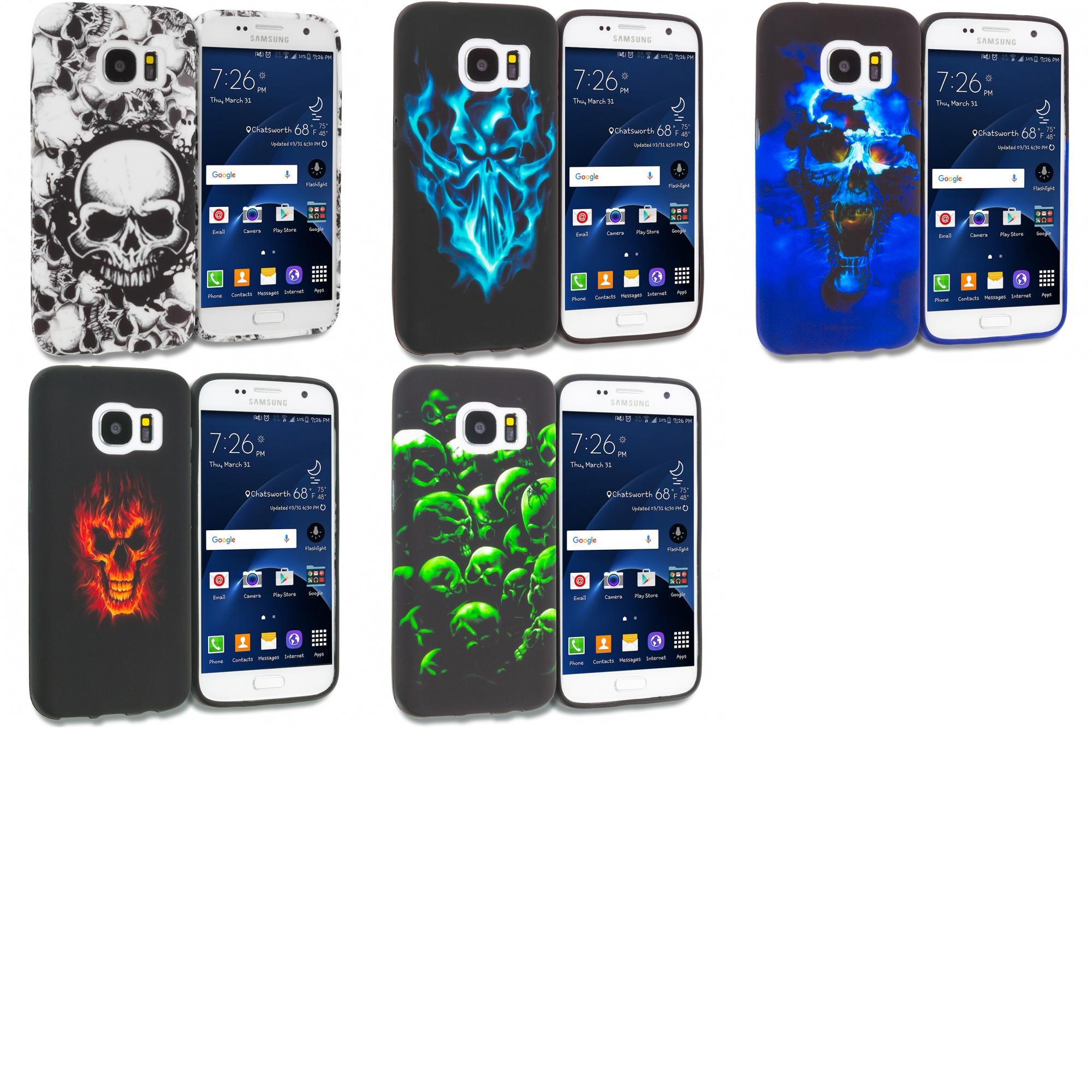 Samsung Galaxy S7 Combo Pack : Black White Skulls TPU Design Soft Rubber Case Cover
